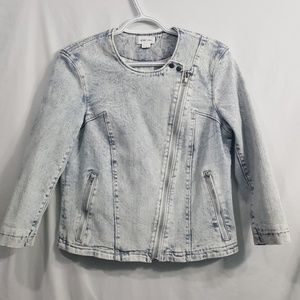 Helmut Lang acid washed moto style denim jacket